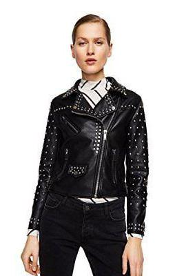 Black Leather Jacket Long Silver Spike Studs With Belted Waist For Women