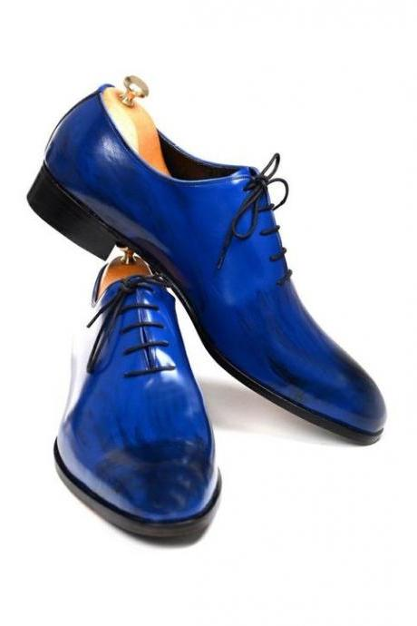 Two Tone Blue & Black Oxford Plain Toe Real Leather Lace up Formal Shoes for Men