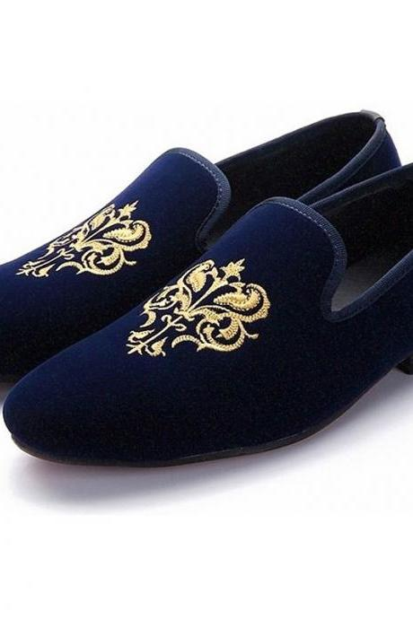 Party Wear Blue Moccasin Loafer Slip Ons Genuine Suede Leather for Men's