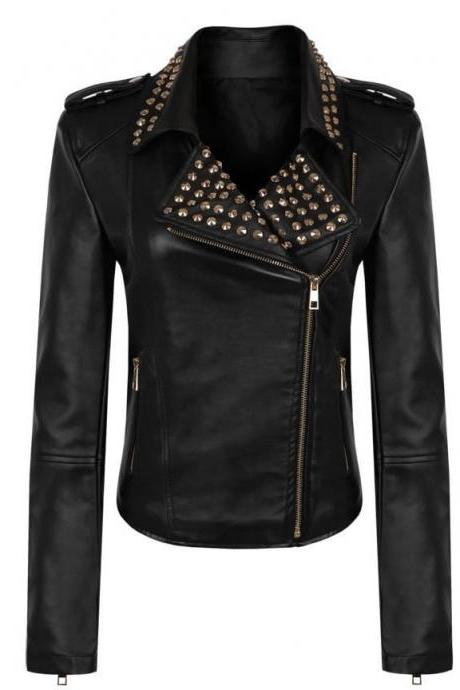 Black Golden Studded Slim Fit Stylish Genuine Leather Jacket Brando Style For Women