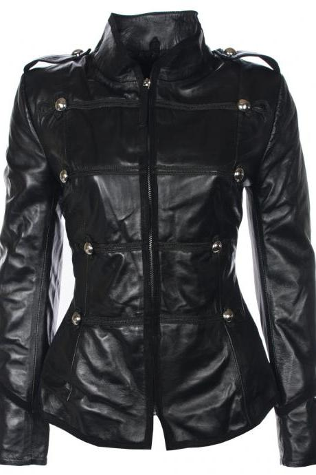 Black Silver Studded Slim Fit Stylish Genuine Leather Jacket Brando Style For Women