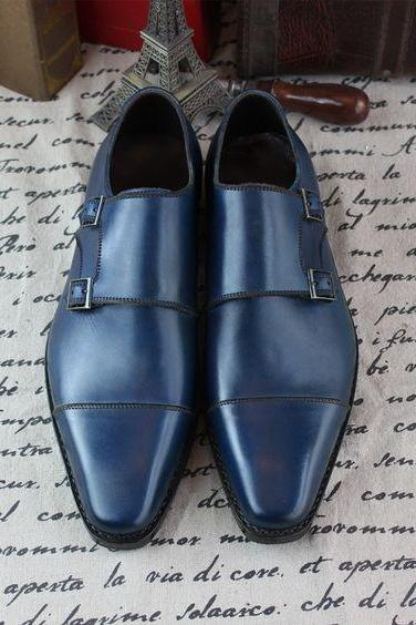 Blue Color Genuine Leather Monk Double Buckle Strap Plain Cap Toe Shoes for Men