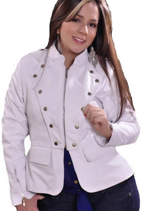 White Front Silver Studded Slim Fit Stylish Genuine Leather Jacket Brando Style For Women