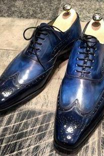 Oxford Wing Tip Burnished Brogues Toe Real Leather Two Tone Lace up Shoes 4 Men