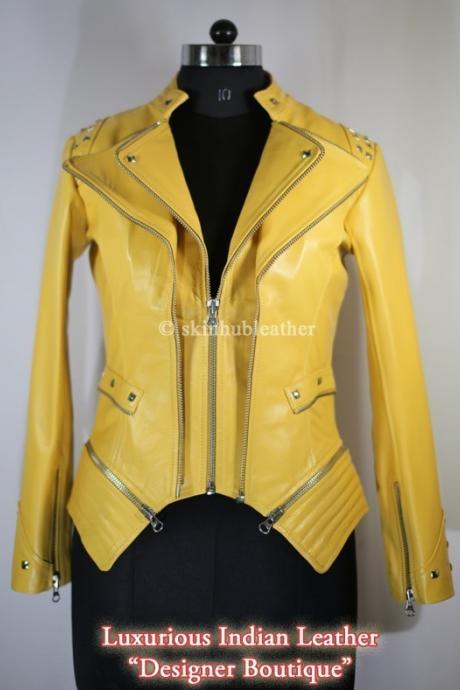 Women Yellow Color Front Double Zipper Biker Silver Studded Genuine Stylish Leather Jacket Biker
