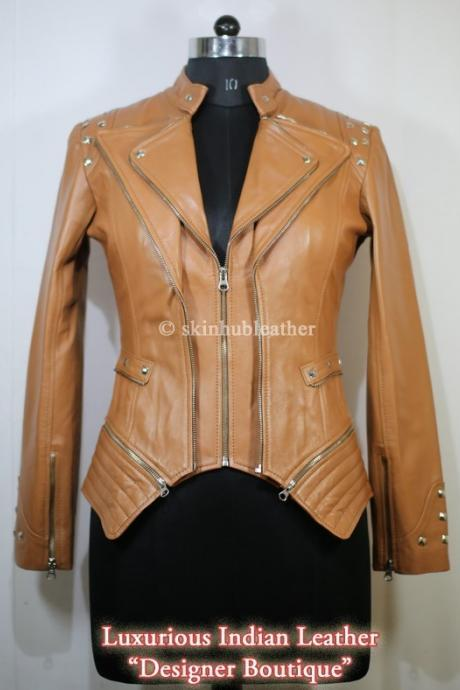 Women Brown Color Front Double Zipper Biker Silver Studded Genuine Stylish Leather Jacket Biker