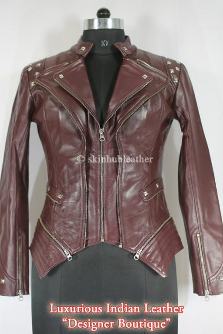 Women Dark Brown Color Front Double Zipper Biker Silver Studded Genuine Stylish Leather Jacket Biker