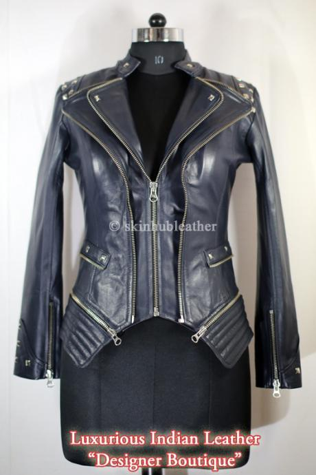Women Black Color Front Double Zipper Biker Silver Studded Genuine Stylish Leather Jacket Biker