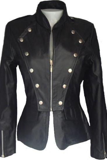 Black Front Golden Studded Stylish Genuine Leather Jacket Slim Fit Zipper Sleeves