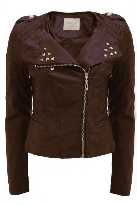 Black Front Golden Studs on Collar Stylish Genuine Leather Jacket Slim Fit Zipper Sleeves For Women