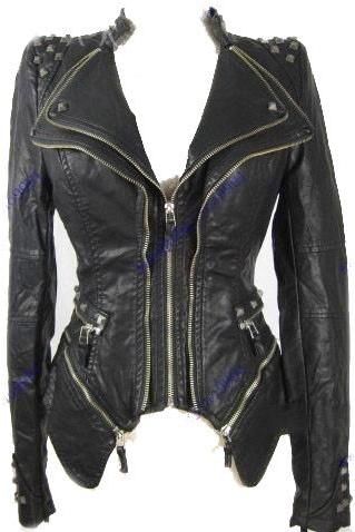 Black Color Silver Studs Stylish Genuine Leather Jacket Slim Fit Zipper Sleeves For Women