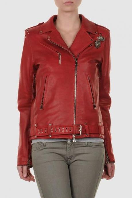 Red Color Silver Small Studs Stylish Genuine Leather Jacket Slim Fit Zipper Sleeves For Women