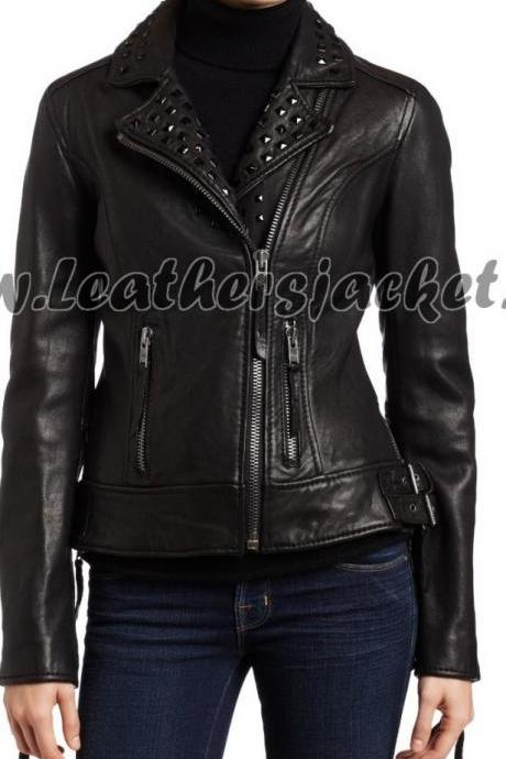Black Color Silver Small Studs Stylish Genuine Leather Jacket Slim Fit Zipper Sleeves For Women