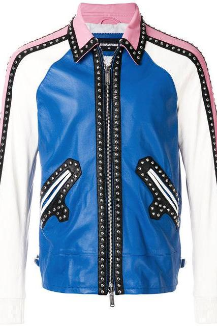 Men Color Full Genuine Real Leather Jacket Silver Studded Hand Crafted