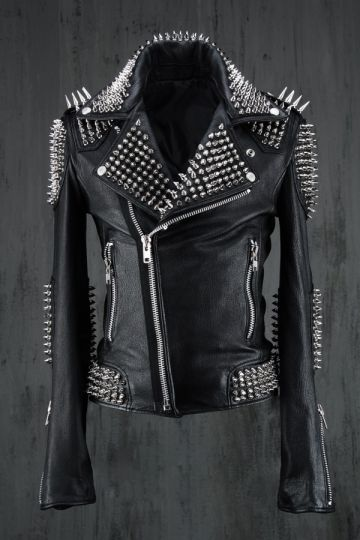 Customized Women Black Color Genuine Real Leather Jacket Long Spiked Silver Stud
