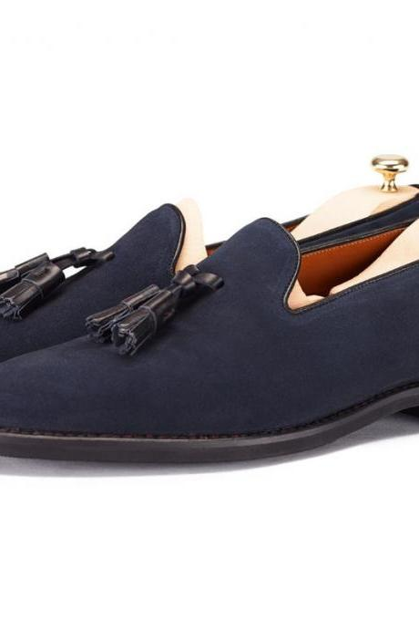 Genuine Suede Leather Blue Moccasin Loafer Slip Ons with Tassels for Men's