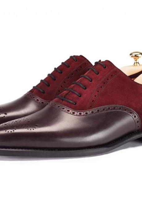 Oxford Two Tone Maroon Suede Leather Brogues Rounded Toe Casual Dress Men Shoes