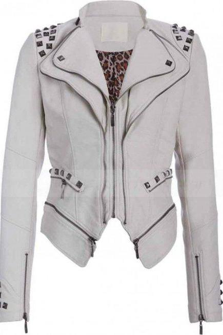 White Color Genuine Real Leather Jacket Silver Studded Punk Style For Women