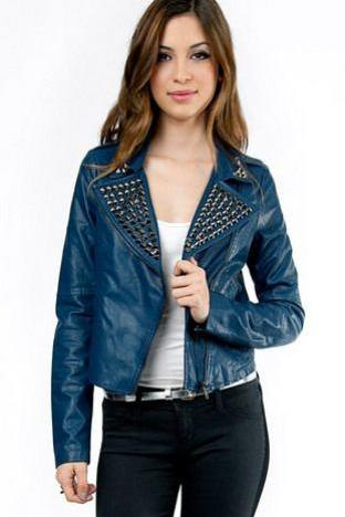 Hand Made Blue Color Classical Genuine Leather Jacket Black Studded For Women