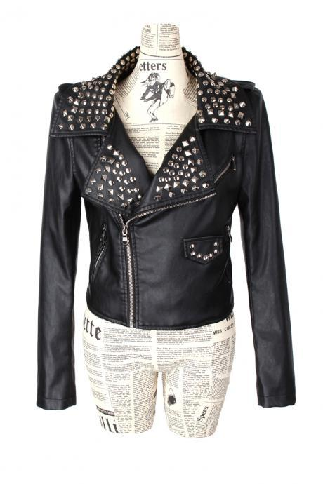 Customized Black Color Genuine Real Leather Jacket Silver Studded For Women