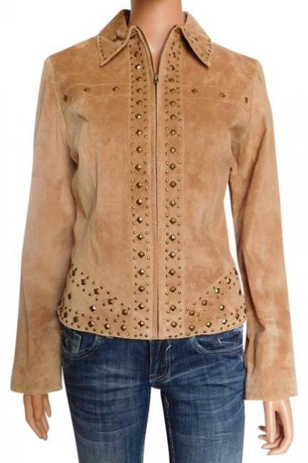 Women Brown Causal Wear Genuine Suede Leather Jacket Golden Studded Hand Crafted