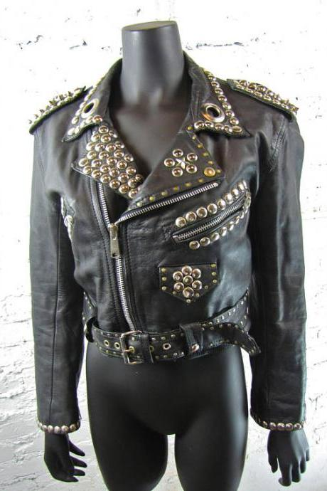 Hand Stitched Black Genuine Elegant Leather Jacket Golden Studded For Women