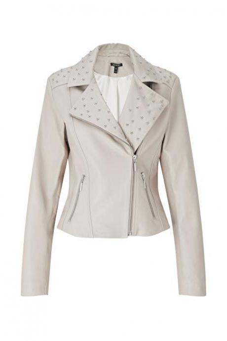 Women Off White Classical Genuine Leather Jacket Silver Studded Brando Style