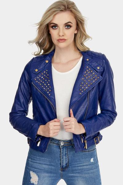 Women Purple Color Short Body Genuine Real Leather Jacket Golden Studded