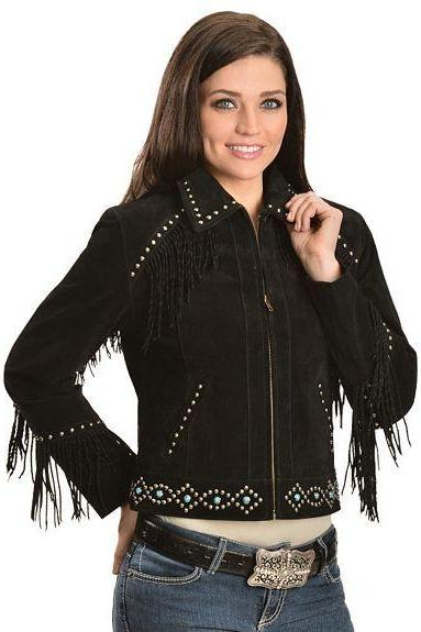Black Color Suede Genuine Leather Jacket With Fringes & Silver Studded For Women