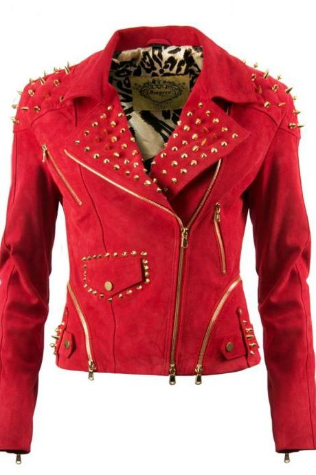Women Red Suede Genuine Leather Jacket Spiked Golden Studded Hand Stitched