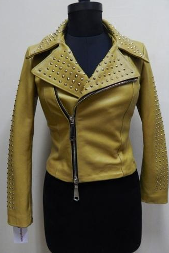 Yellow Color Genuine Real Leather Jacket Golden Studded Brando Style For Women