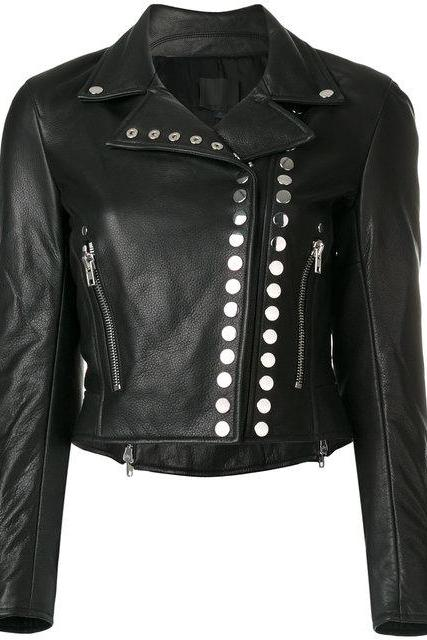 Women Black Motor Bike Genuine Leather Jacket Silver Studded Brando Style