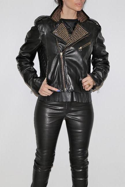 Black Color Women Short Body Genuine Leather Jacket Golden Studded Brando Style