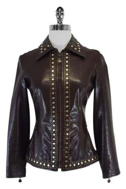 Hand Crafted Dark Brown Real Genuine Leather Jacket Golden Studded For Women