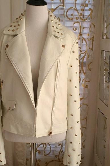 Hand Made Off White Color Genuine Real Leather Jacket Golden Studded For Women