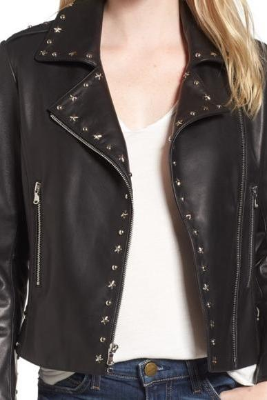 Black Color Genuine Real Biker Leather Jacket Silver Studded For Women Hand Made
