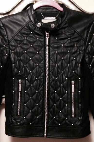Hand Crafted Women Black Color Genuine Real Biker Leather Jacket Silver Studded
