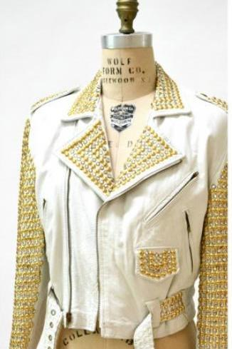 White Color Women Genuine Punk Style Leather Jacket Golden & Silver Studded