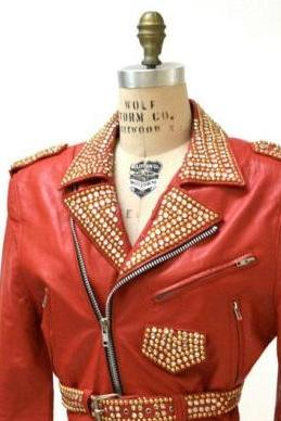 Red Color Women Genuine Punk Style Leather Jacket Golden Studded Brando Style