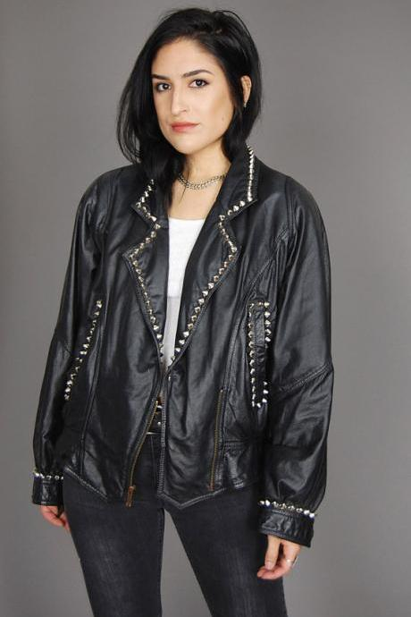 Customized Women Black Color Genuine Real Biker Leather Jacket Silver Studded
