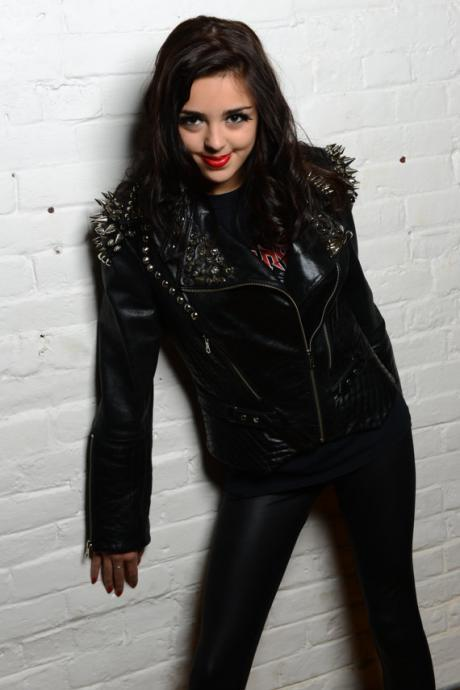 Black Genuine Punk Style Leather Jacket Spiked Silver Studded For Women