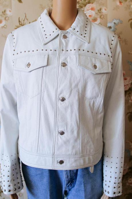 White Genuine Stylish Leather Jacket Silver Studded For Women Button Closure