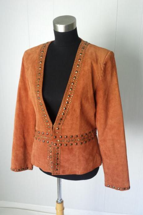 Brown Suede Genuine Real Leather Jacket With Golden Studs For Women Hand Made