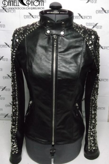 Black Genuine Biker Leather Jacket With Heavy Silver Studded On Arms For Women