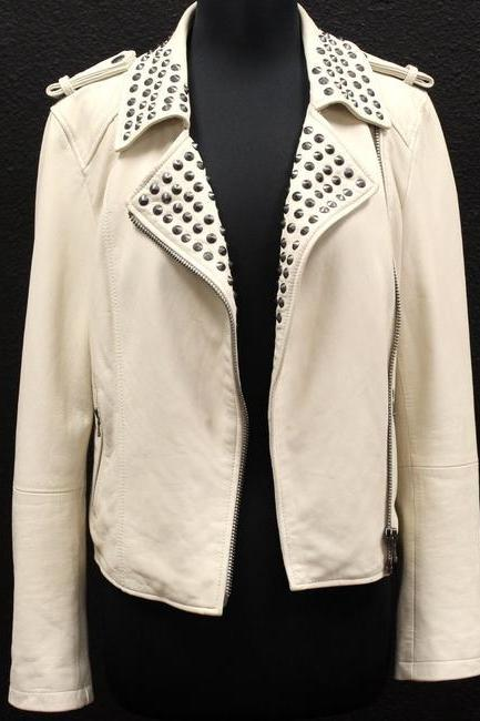 Customized Off White Genuine Leather Jacket Silver Stud Strap Shoulder For Women
