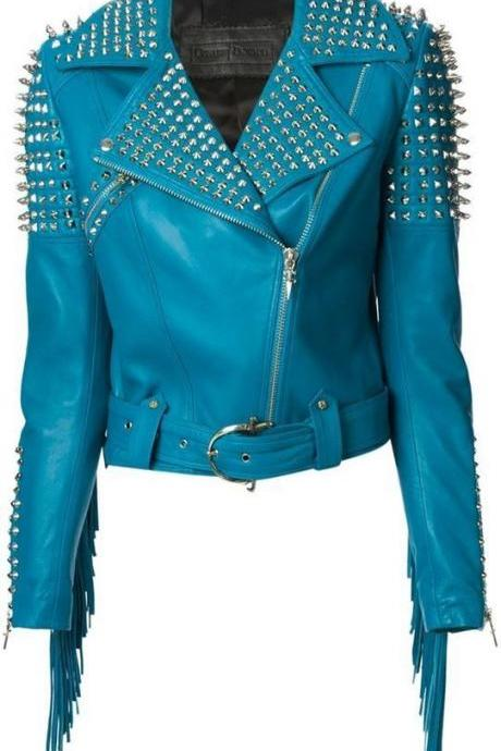 Women Blue Color Classical Genuine Leather Jacket Spiked Silver Studs & Fringes