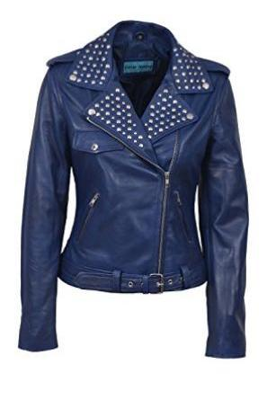 Hand Stitched Blue Color Genuine Biker Leather Jacket Silver Studded For Women