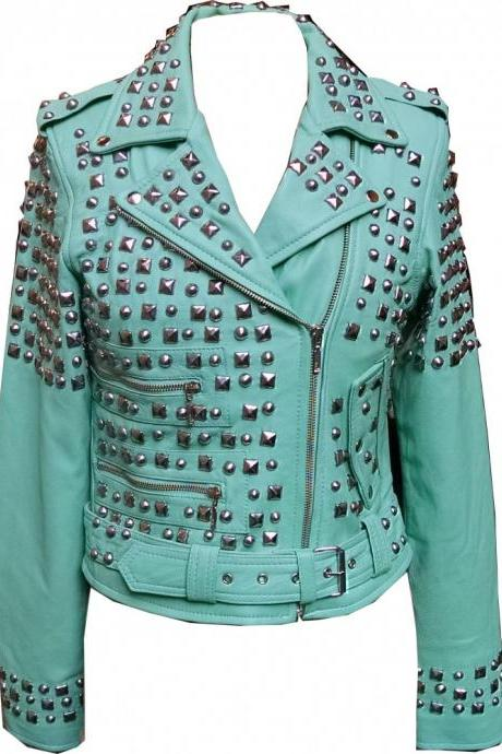 Green Color Classical Real Leather Jacket Full Silver Studded For Women