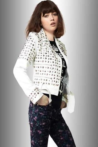 Women White Color Genuine Real Leather Jacket Full Silver Studded Hand Stitched