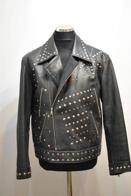 Gray Genuine Leather Jacket Golden Studded Hand Front Zipper Crafted For Men